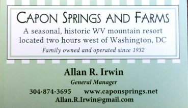 Allan Irwin Capon Springs and Farms 304-874-3695 Allan.R.Irwin@gmail.com